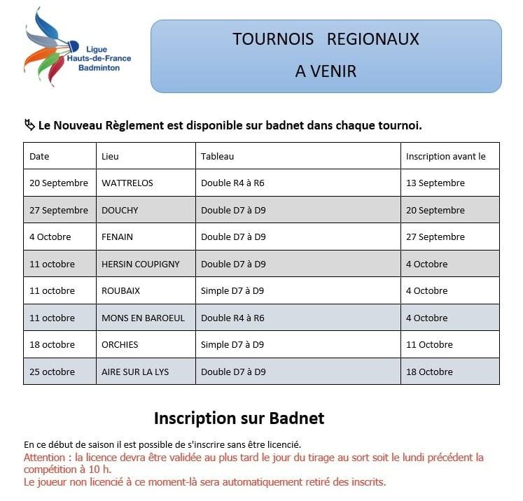 TOURNOIS REGIONAUX A VENIR